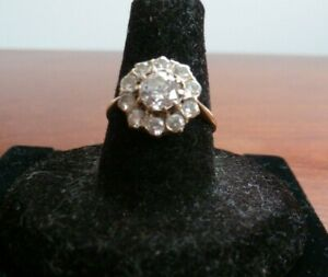 9 Carat Yellow Gold Daisy Ring Set With CZ Size M London 1985