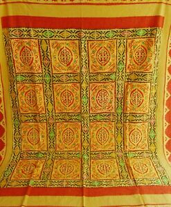 Hand Stitched Applique Patch Work Kantha Bedsheet Quilt Throw Blanket Bedcover