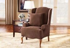 NEW Stretch Pique one piece stretch Wing Chair Slipcover sure fit Chocolate