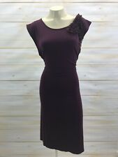 Merona Dress XXL Jersey Knit Purple Eggplant Sleeveless Chiffon Ruffle Ties B74
