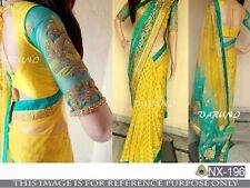 Bollywood Designer Party Wear Yellow & Green Color Half & Half  Bridal Saree
