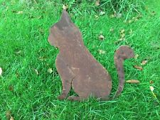 Big Rusty Metal Cat Silhouette Garden Art