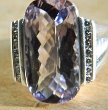 HUGE DAVID YURMAN WHEATON RING 22MM x 18MM STERLING SILVER/ AMETHYST & DIAMOND