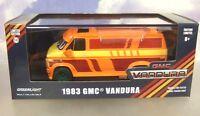 1/43 Greenlight Druckguss 1983 GMC Vandura Lastwagen Orange / Custom Grafik Grün