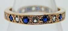 Vintage Full Eternity 9ct Sapphire and Diamond Pastes Ring size M 1/2