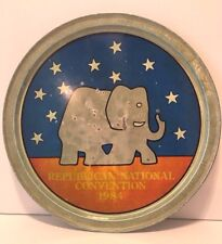 """Vintage Republican National Convention 1984 Metal Serving Tray 12.75"""" Diameter"""