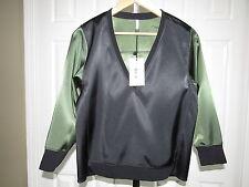 NEW Faith Connexion Black Green Satin Sweater Top Blouse M NWT