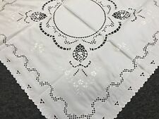 """Embroidered Cut work Fabric White Embroidery Tablecloth 36"""" Square Coffee Table"""