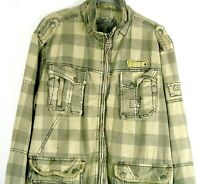 FUSAI Men's Military Type Jacket L Green Black Plaid Distressed Cargo Pockets