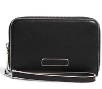 Vera Bradley Faux Leather Zip Around Wristlet Wallet Black w/ White Trim Clutch