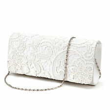 Satin Lace Floral Evening Clutch Bag Wedding Bridal Handbag Purse Ivory White