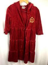 JUICY COUTURE Womens Small S Ruffled Tiered Burgundy Beach Robe Cover Up Dress