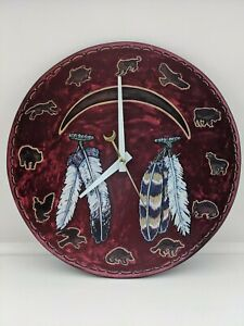 Wildlife Feather Wall Clock Rustic Western Southwest Native Lodge Cabin EUC