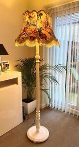 VINTAGE ANTIQUE  STANDARD FLOOR LAMP LIGHT + FRINGE SHADE