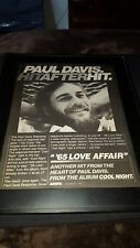 Paul Davis 65 Love Affair Rare Original Promo Poster Ad Framed!