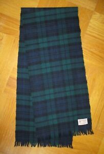 "Vintage JOHNSTONS of ELGIN Wool ""Tartan"" Scarf: Navy, Green & Black"
