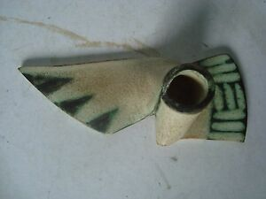Unusual Studio Pottery knot shaped candle holder ornament hand signed