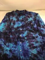 VTG 90s Bugle Boy Multicolor Tie Dye All Over Print Short Sleeve Shirt Size L