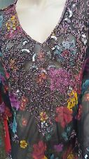 Beautiful Sheer Floral Blouse Top Tunic Multi Colour Sequins Beads plus size