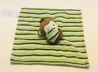 SECURITY Blanket LITTLE Miracles MONKEY Brown Green Blue White Stripes Lovey Toy