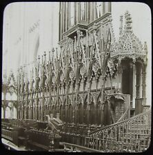 Glass Magic Lantern Slide THE CHOIR STALLS WINCHESTER CATHEDRAL C1890 PHOTO