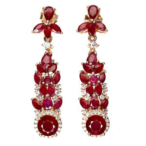 Round Red Ruby 6mm Cz 14K Rose Gold Plate 925 Sterling Silver Earrings