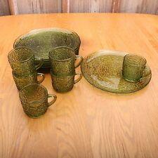 8 Anchor Hocking Avocado Green Soreno Glass Snack Set Plates and 6 Cups