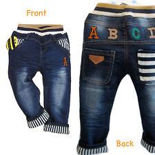 Baby Toddler Kid ABC Vintage wash Denim Smart Jeans Elastic Waist 6M - 5Years