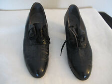 Vintage Rochelle Black Leather Shoes with Block Heel Size 7