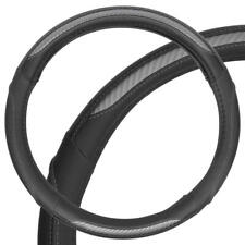 Carbon Fiber PU Leather Steering Wheel Cover Medium Gray and Black