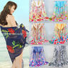 Women Chiffon Rose Flowers Feathers Printed Silk Shawl Scarf Scarves 155*50cm