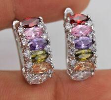 18K White Gold Filled -  Amethyst Peridot Ruby Topaz Pageant Women Hoop Earrings