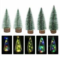 Tabletop LED Mini Christmas Pine Trees Ornament Snow Frost Small Xmas Decor Gift