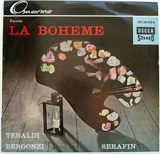 """PUCCINI LA BOHEME RENATA TEBALDI CARLO BERGONZI TULLIO SERAFIN 12"""" LP (d245)"""