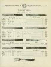 Catalog Page Ad  Table Cutlery Knives and Forks Bone Celluloid  Handles  1902