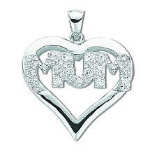MUM ciondolo argento sterling rodio finitura zircone cubico a cuore