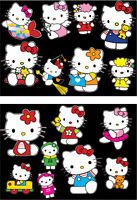 KIT 16 ADESIVI HELLO KITTY auto moto cameretta UNICI STICKERS DECAL