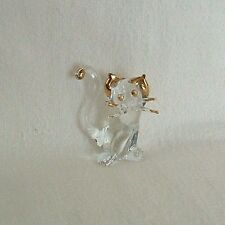 Clear Blown GLASS CAT Kitten GOLD Trim Ears Tail Whiskers FIGURINE Miniature