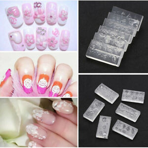 6PCS Acrylic Decoration 3D Silicone Nail Art Mold Template DIY Manicure-Durable