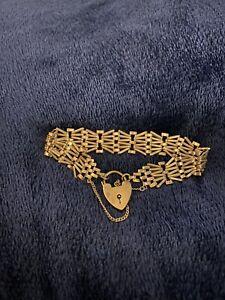 Vintage 9ct Gold 6 Bar Gate Link Bracelet With Gold heart padlock
