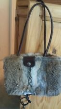 preowned Lord & Taylor genuine rabbit fur brown leather handbag fully lined