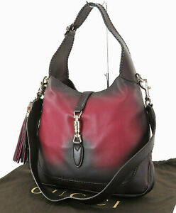 Auth GUCCI Jackie O Burgundy Gradation Leather 2-Way Shoulder Bag Purse #25024A