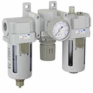 "PneumaticPlus Air Filter Regulator Lubricator Combo 1/2"" NPT 250 PSI SAU400-N04G"