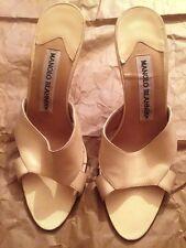 Manolo Blahnik AUTHENTIC women's beige leather slip-on heels Size EU 36 US 6