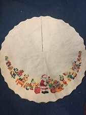 Vintage Rennoc Felt Christmas Tree Skirt!   SANTA!  ELVES!  TOYS!  COLORFUL!