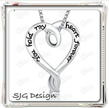 """""""YOU HOLD MY HEART FOREVER"""" pendent CHARM on Box CHAIN necklace-Silver Plated"""