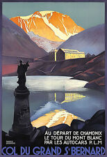 Art Ad Col du Grand St  Bernard Chamonix Autocars Mont Blanc Deco  Poster Print
