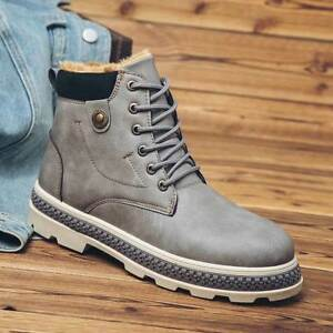 Men's Winter Warm Ankle Boots Faux Leather Plus Fur Lined Outdoor Snow High Chic