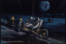 1970 NASA Lunar Roving Vehicle Moon Car Art - U.S. Astronauts - VINTAGE AD