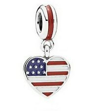 NEW Authentic Pandora Bead US Heart Flag Charm In Red, White & Blue 791548ENMX